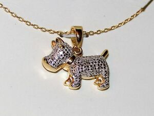 New-YGP-925-Sterling-Silver-SCOTTY-DOG-Pendant-Necklace-w-Diamond-Accent