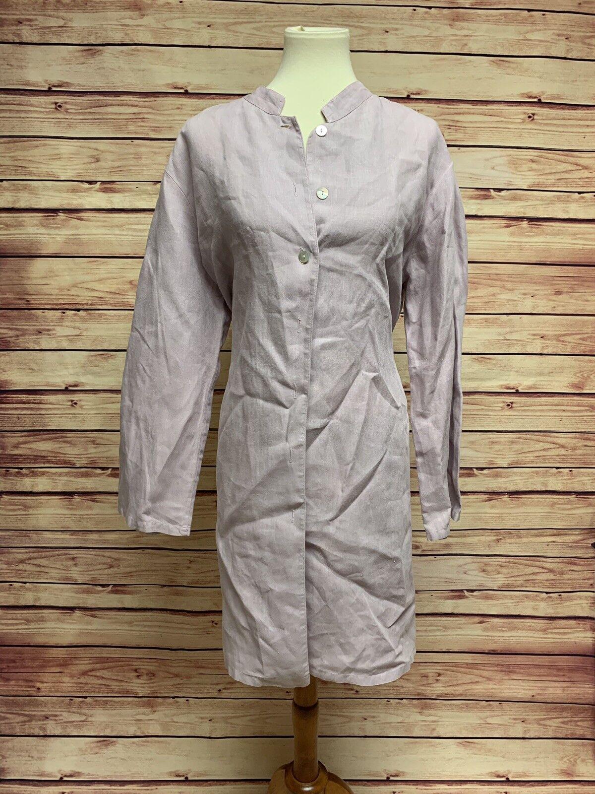 Bryn Walker damen Linen Button Down Lagenlook Jacket Shirt Lt lila Größe Large