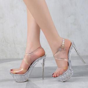 Platform-Crystal-Clear-Sandals-Crossdresser-Heels-Drag-Queen-Large-Shoes-Plus-Sz