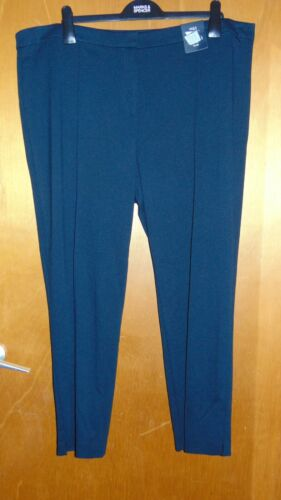 "M/&S 4-Way Stretch Mid Rise Flat Front Slim Leg Trousers 24R L29/"" Navy BNWT"