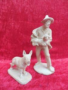 2-schone-Krippenfiguren-Holz-geschnitzt-Schafer-mit-Hund-Holzfiguren