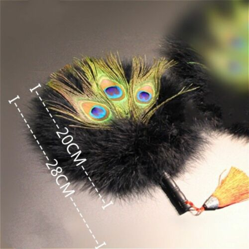 Peacock Marabou Feather Hand Fan Double Side Favor Vintage Pagan Wicca Gift New