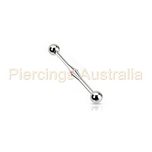 316L Stainless Steel Black Pearl on Shell Industrial Barbell