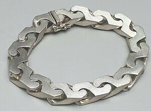 Extrem-dick-schwer-835-Silber-Armband-matt-A-Daub-Pforzheim-19-5-cm-A562