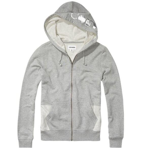 CONVERSE ALL STAR Damen Hoodie Sweater Sweatshirt Kapuze grau metaalic Gr. M L