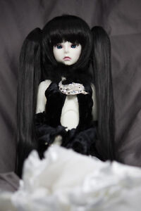 Doll-Wig-Straight-w-Removeable-Pig-Tails-Natural-Black-Miku-BJD-6-7-8-9