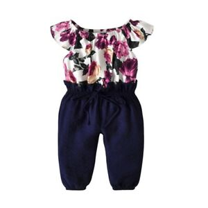 a8615bc49fb Image is loading Toddler-Kids-Baby-Girls-Floral-Clothes-Jumpsuit-Romper-