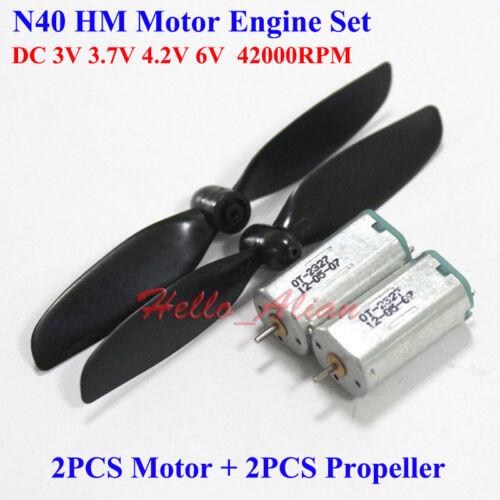 2PCS N40 DC 3V 3.7V 4.2V 42000RPM High Speed Mini RC Aircraft Model Motor+Blades