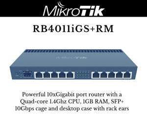 Details about MikroTik RB4011iGS+RM 10xGigabit Quad-core 1 4Ghz CPU 1GB RAM  SFP+ 10Gbps cage
