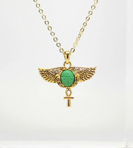 Egyptian scarab opened wings ankh cross ancient egypt golden pendant image is loading egyptian scarab opened wings ankh cross ancient egypt aloadofball Choice Image