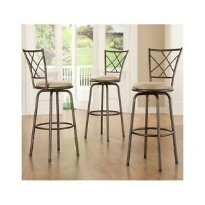 Marvelous Details About 3 Padded Metal Stools Swivel Adjustable Bar Height Bronze Kitchen Counter Stool Lamtechconsult Wood Chair Design Ideas Lamtechconsultcom