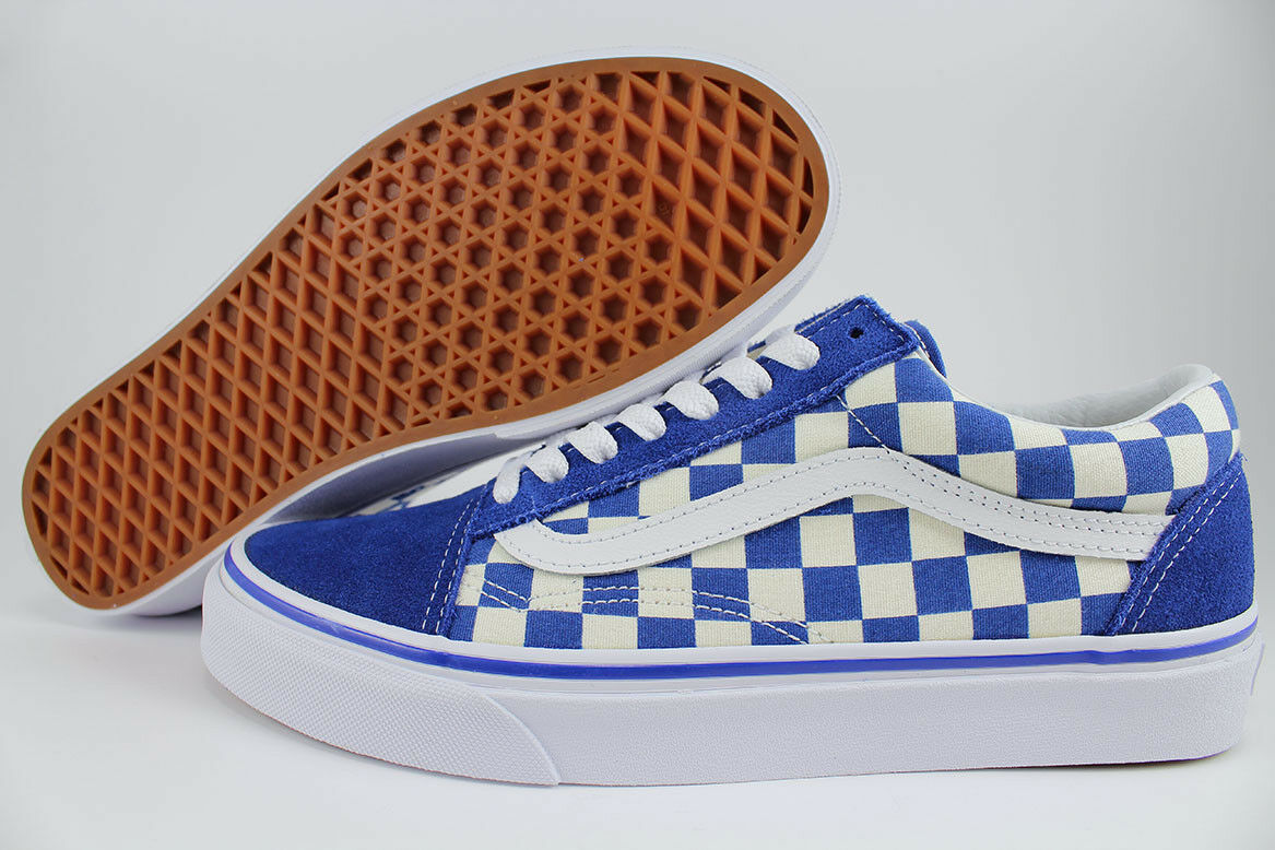 VANS OLD TRUE SKOOL PRIMARY CHECKERBOARD TRUE OLD BLUE/OFF WHITE CHECK SKATE US Uomo SIZES 7fae80
