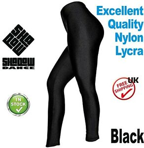 Black-Footless-Dance-Leggings-Girls-Shiny-Lycra-leotards-ballet-children-CC