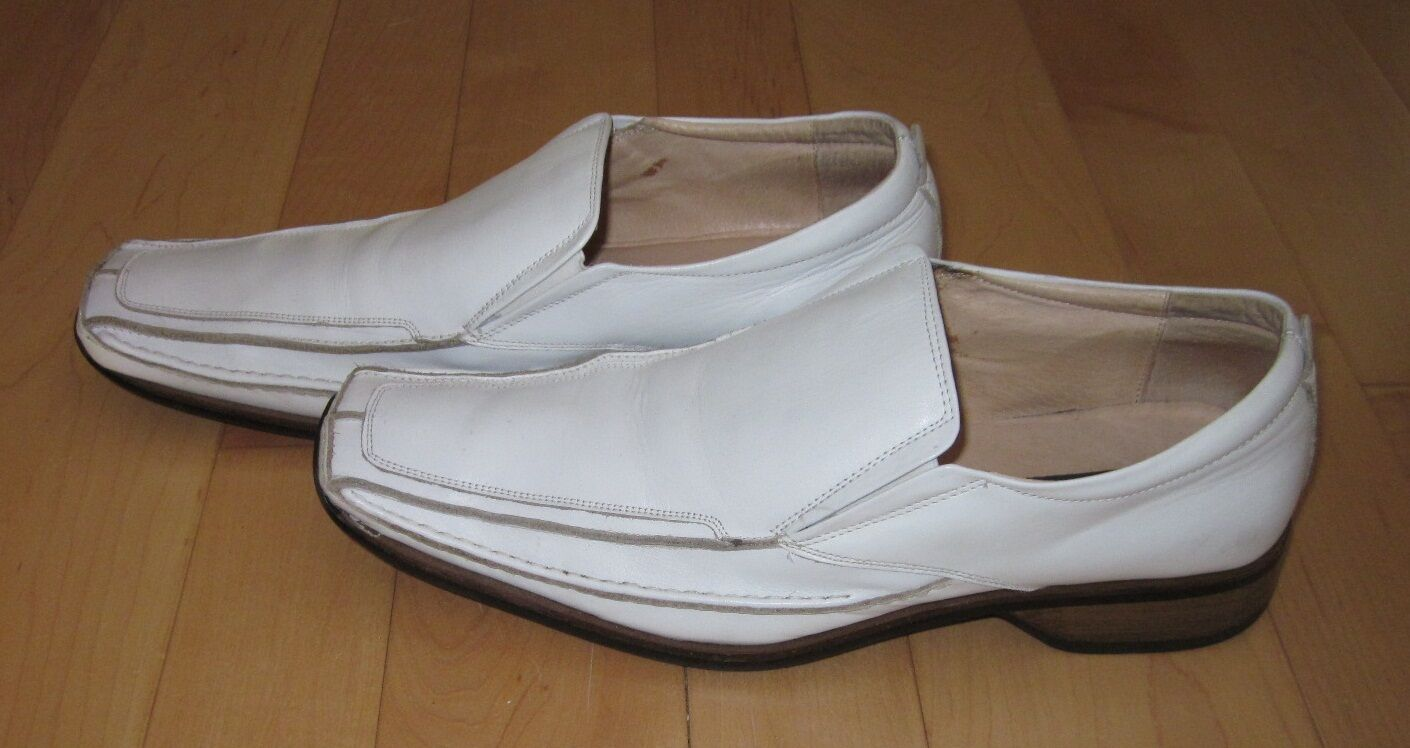 Scarpe casual da uomo  Giorgio Brutini uomos White Leather Slip On Square Toe Loafers Shoes 12 M