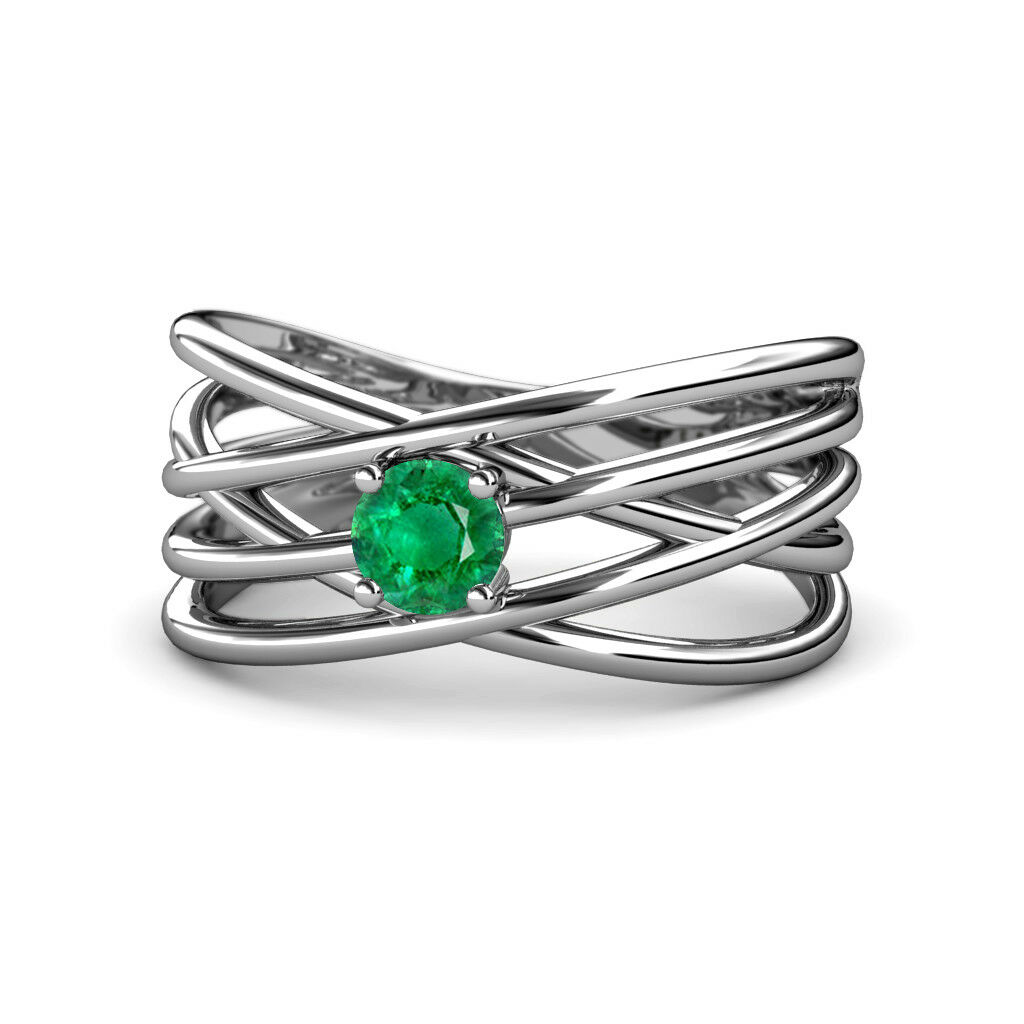 Round Emerald Solitaire Criss Cross Promise Ring 0.40 ct 14K gold JP 164329