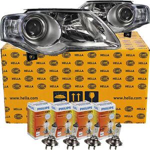 Hella-Scheinwerfer-Set-Satz-VW-Passat-B6-3C-Bj-05-11-Philips-H7-H7-Motoren