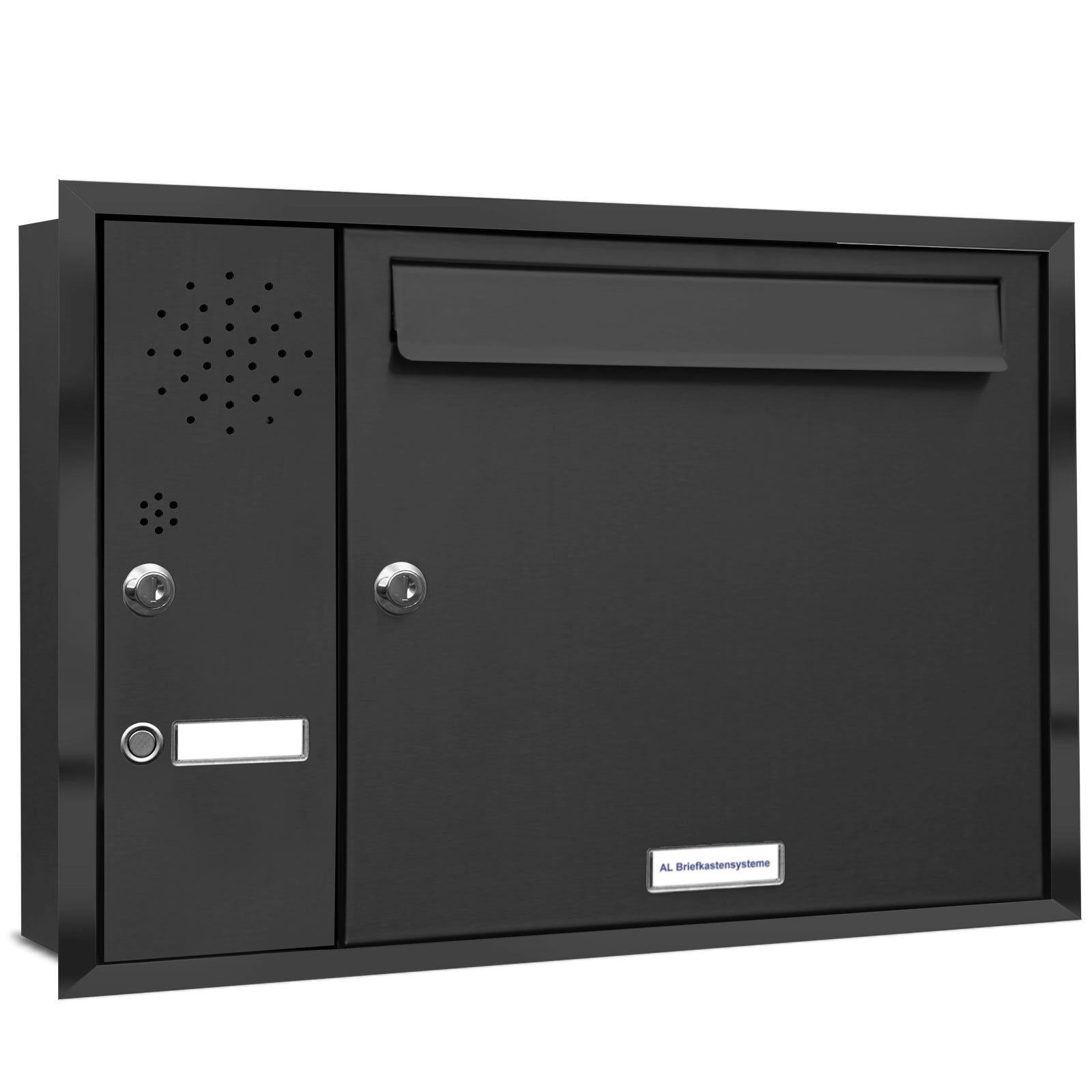 1 er Premium Briefkasten Unterputz Anthrazit mit Klingel Fach Postkasten A4
