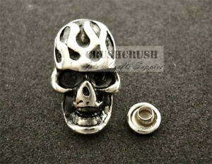 10Sets-Antique-Silver-Fire-Skull-RIVETS-Leather-Decoration-Brads-Concho-RV8215