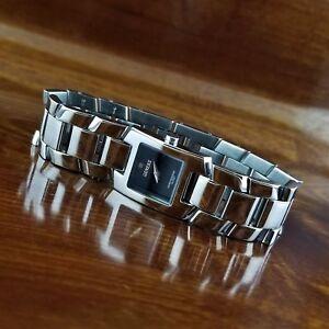 Womens-Geneve-Swiss-Rectangle-All-Stainless-Steel-Bracelet-Watch-100-039-WR