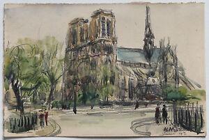 ANDRE-MALTERRE-AQUARELLE-034-LE-CHEVET-DE-NOTRE-DAME-034-PARIS-1942