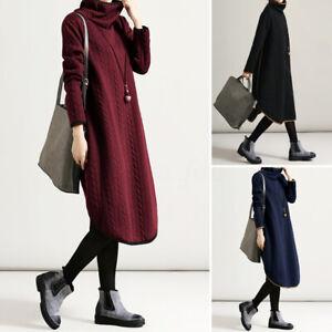 Damen-Langarm-Kleid-Pullikleid-Strick-Pulloverkleid-Herbstkleid-Winter-Kleider