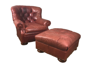 Cool Details About Sam Moore Tufted Red Distressed Leather Club Nailhead Writers Chair With Ottoman Ncnpc Chair Design For Home Ncnpcorg