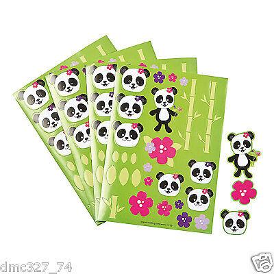 12 Birthday Everyday Party Favors Cute PANDA BEAR Sticker Sheets
