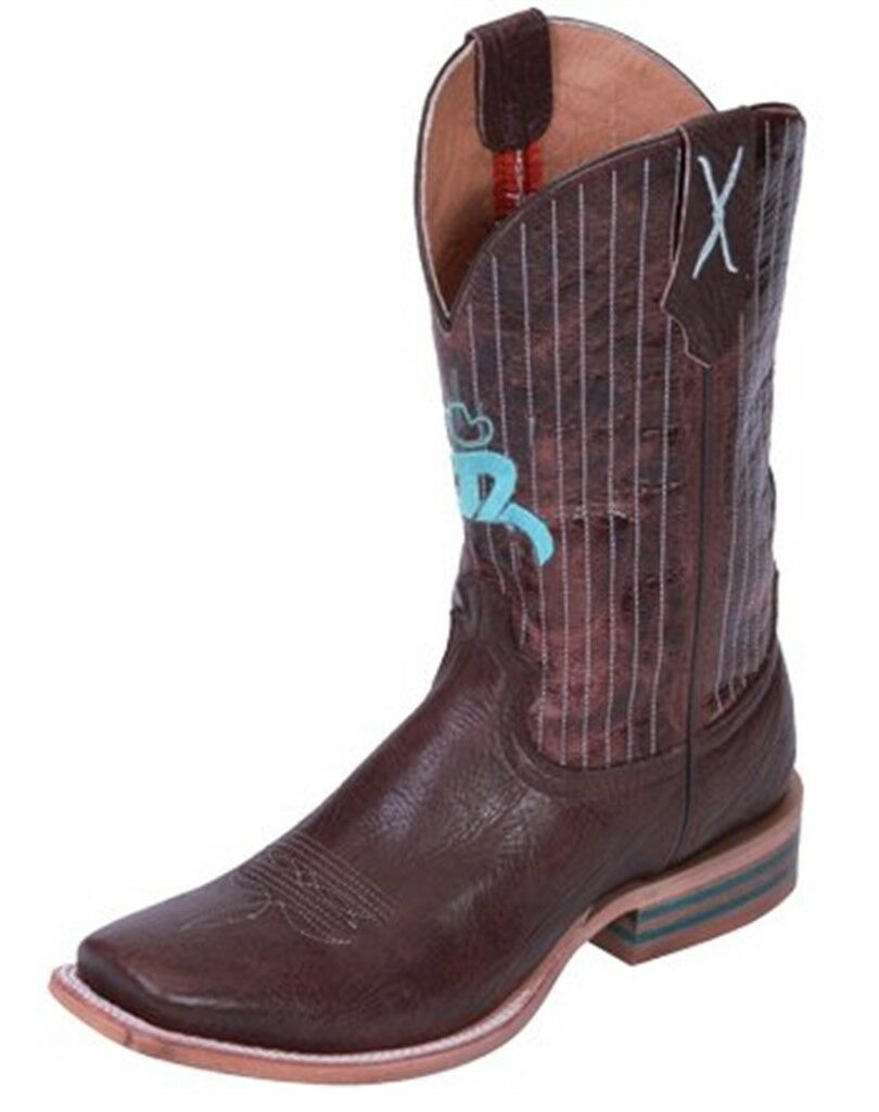 acquista online oggi Twisted X Uomo Chocolate Leather Square Toe Hooey Cowboy Cowboy Cowboy stivali 12D 13D 12 D 13 D  goditi il ​​50% di sconto
