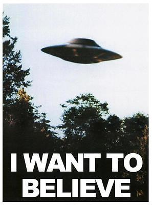 POSTER X FILES I WANT TO BELIEVE 50X70 CM VOGLIO CREDERCI ALIEN UFO ALIENI TV #1