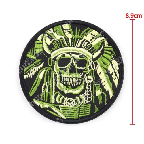 Death Skull War Chief Indian Usa Army Morale Military Tactical Swat Hook Patch B