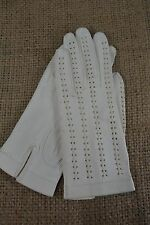 VINTAGE white kid leather driving gloves size SMALL c.1950s stitched backs