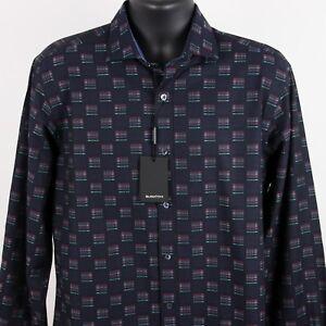 New-179-Bugatchi-Shaped-Fit-Woven-Shirt-Mens-Medium-Midnight-Chambray-Flip-Cuff