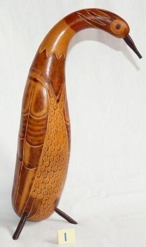 Kalebassen Kürbis 23-28 cm Reiher Vogel Figur Peru Handarbeit geschnitzt,Retro