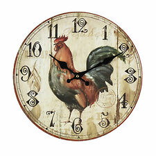Hometime MDF Rustico Rooster Round Orologio Da Parete Stile Retrò Vintage Home Decor 30cm