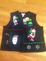 Bechamel Woman 1x Santa On Ski's/skates Christmas Black Sweater Vest