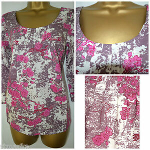NEW-WHITE-STUFF-LADIES-PINK-BLOSSOM-FLORAL-TOP-TUNIC-BLOUSE-SHIRT-SUMMER-8-18
