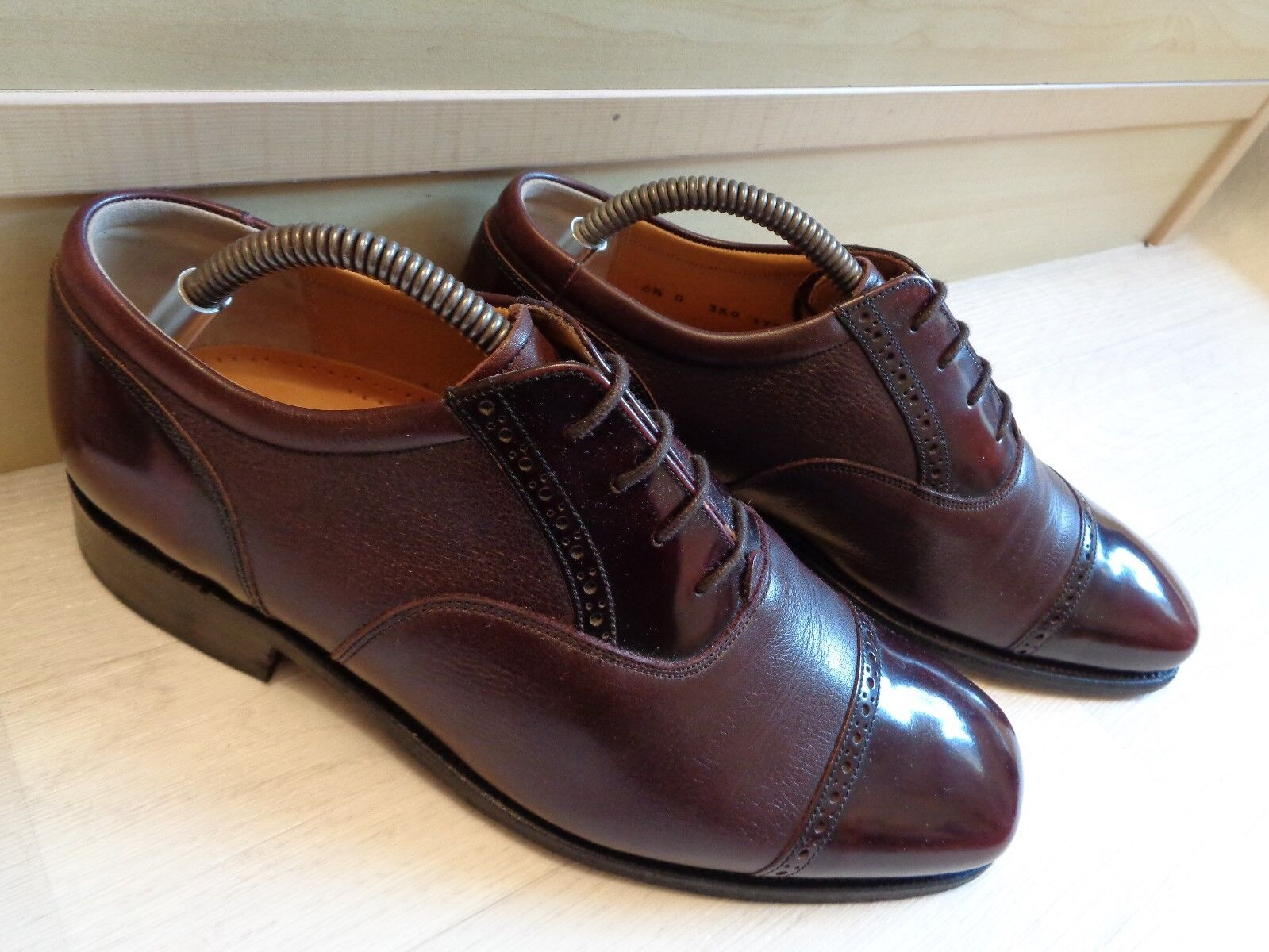 Barker burgundy brogue polished cap toe leather oxford Goodyear Wide
