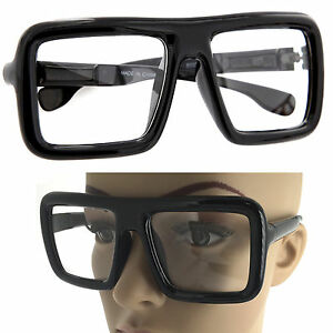 1f589117fe Large Thick Retro Nerd Bold Big Oversized Square Frame Clear Lens ...