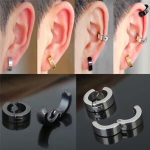 1624e7ab93a52 Details about Non-Piercing Clip On Fake Mens Boy Ear Stud Cuff Hoop  Earrings Stainless Steel