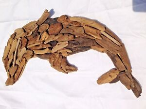 Details About Dolphin Driftwood Wall Art Hand Made Wood Wall Hanging Home Decor