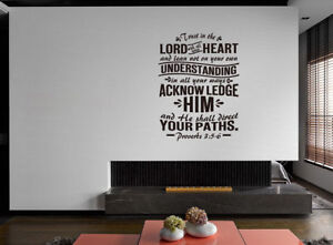 Details About Proverbs 3 5 6 Verse Vinyl Wall Stickers Decals Scripture Quote Word Decor