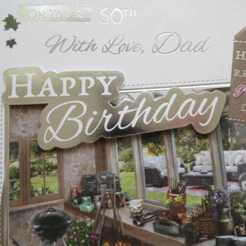 FOIL Birthday Card AGE Relations Greetings Card 60TH  DAD SIXTY