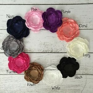 20PCS 10CM Vintage Fabric Flowers For Headbands Satin Flower For Women Hair Clip