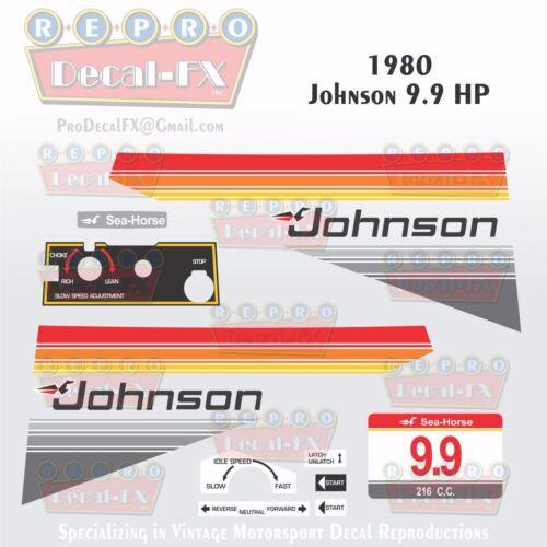 1980 Johnson 9.9 HP Outboard Reproduction 16 Piece Marine Vinyl Decal Sea-Horse