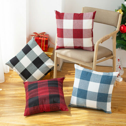 Classic Plaid Linen Plain Cushion Cover for Sofa Home Decoration Pillow Cases Vy