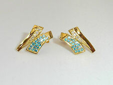 Ladies 18 Ct Yellow Gold Sterling 925 Silver Blue Topaz & Sapphire Earrings