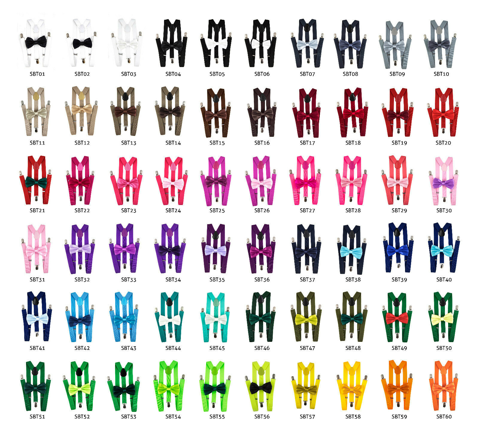 60 Colors New Mens Women Suspender Bow Tie Set Sets Combo Y-Shape Adjustable