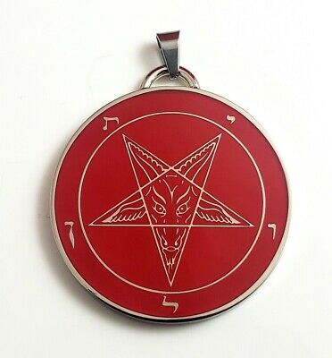 Church of Satan Sigil of Baphomet Stainless Steel 316L Black//Red 1.5
