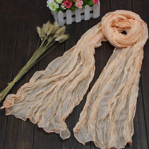 Meliert Frauen Schal Plissee Schal Baumwolle Falten Halstuch Knitterfalten