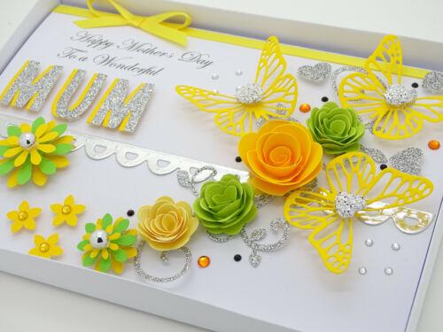 Personalised Handmade Mères Jour//MUM CARTE D/'ANNIVERSAIRE 40 th 50 th 60th avec boite
